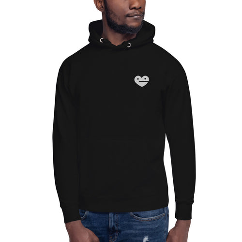 Black Frozen Heart Embroidered Unisex Hoodie - SiberianLizard