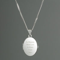 Personalised Sterling Silver Oval Locket Necklace Default Title