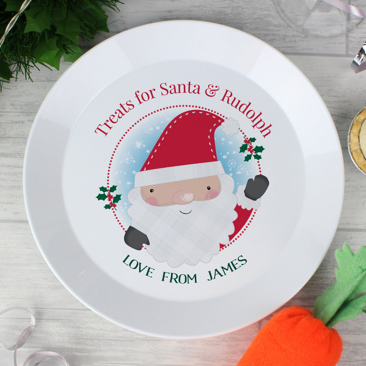 Personalised Santa Christmas Eve Mince Pie Plastic Plate freeshipping - BCV Personalised