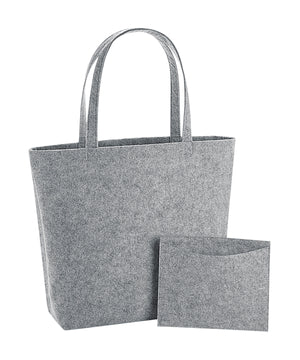 Felt shopper bag with detachable pouch