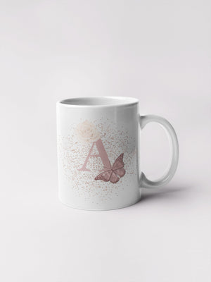 Blush Butterfly alphabet 11oz mug - BCV Personalised