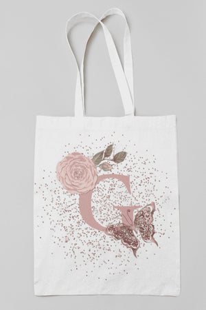 Blush Butterfly alphabet tote bag - BCV Personalised