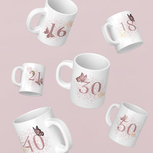 Blush Butterfly Birthday 11oz Mug - BCV Personalised