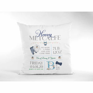 Customisable Boy birth announcement Cushion  16