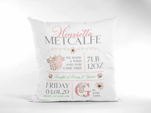 Customisable Girl Birth announcement cushion 16