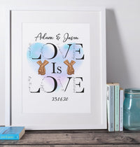 Love is Love Husband and Husband Print A4/A3 - BCV Personalised