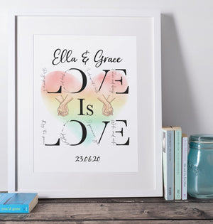 Love is Love Wife and Wife Print A4/A3 - BCV Personalised