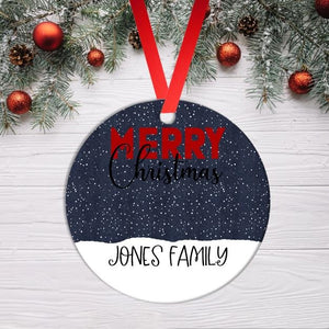 Merry Christmas Personalised Family Name Snow Scene Ornament Christmas Ornament - BCV Personalised