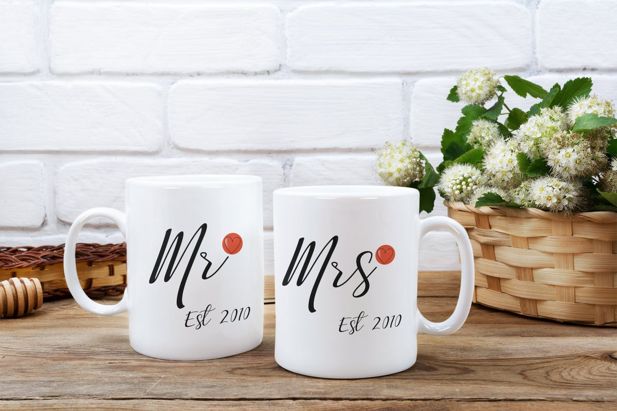 Mr & Mrs Est date Personalised Set 11oz Mug - BCV Personalised