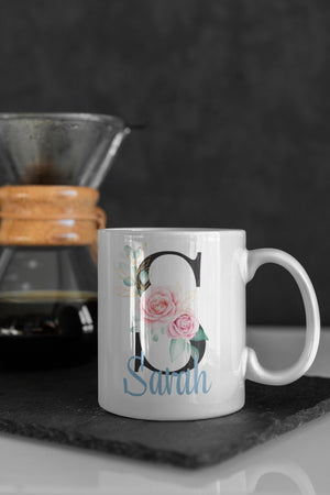 Personalised Black Letter mug with elegant name monogram letter 11oz Mug - BCV Personalised