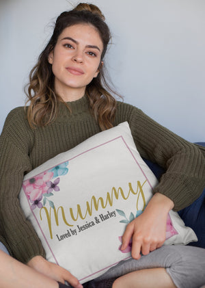 Personalised Mummy loved by Children's names Cushion Cover - BCV Personalised