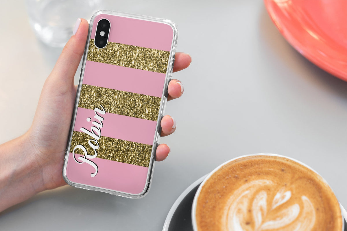 Pink/Gold Glitter Personalised Phone Case Iphone/Samsung - BCV Personalised