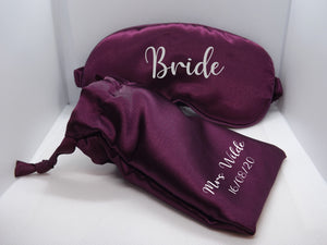 Satin eye mask with matching pouch - BCV Personalised