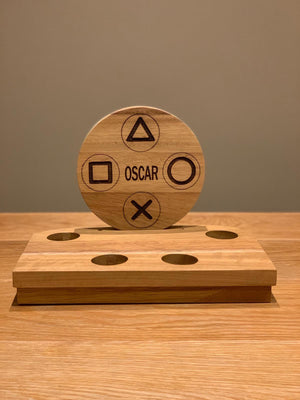 Solid Oak personalised gamertag/name controller/headset stand - BCV Personalised
