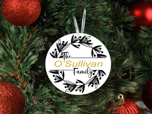 The ..... Family monogram - Christmas Tree Ornament - BCV Personalised