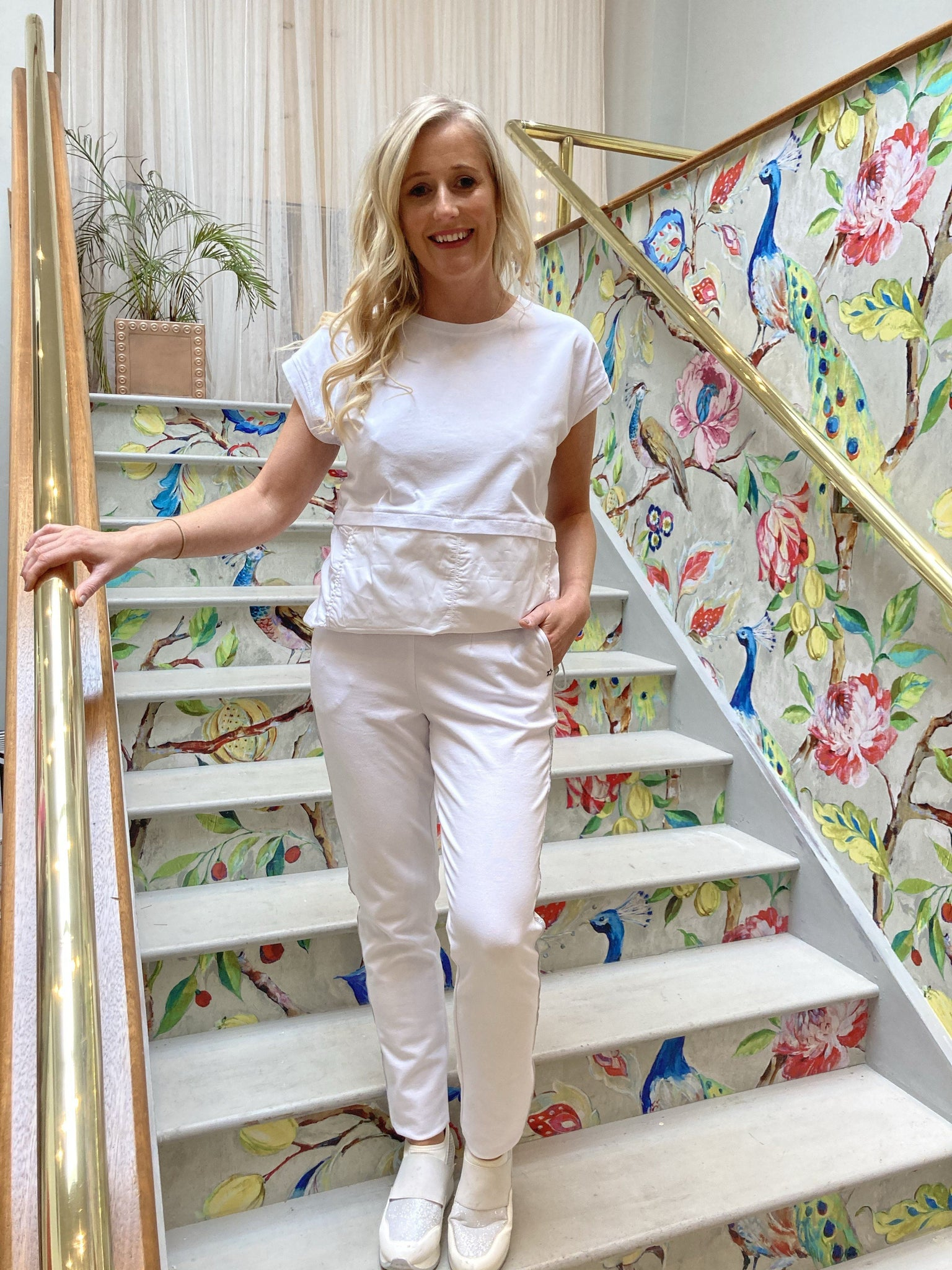 White Loungewear Bottoms Trousers & Skirts Elmay Boutique