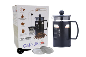 cafe jei french Press coffee maker plastic black with packaging box and filters and spoon