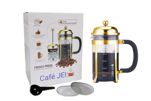 Cafe JEI Classic French Press Coffee and Tea Maker 600ml (Dome, Gold)