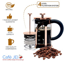 Load image into Gallery viewer, French Press Coffee and Tea Maker 600ml (Rose Gold)