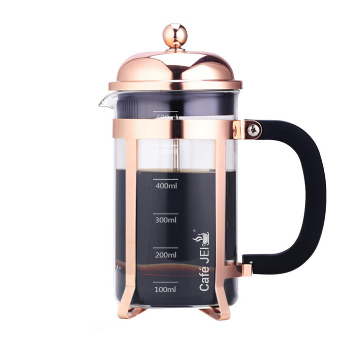 Cafe JEI Classic French Press Coffee and Tea Maker 600ml (Dome Rose Gold)