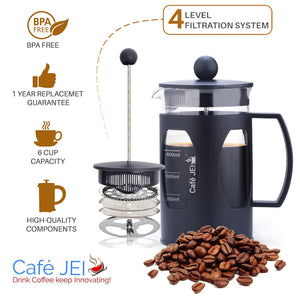 cafe jei french Press coffee maker plastic black