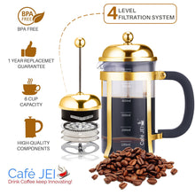 Load image into Gallery viewer, Cafe JEI Classic French Press Coffee and Tea Maker 600ml (Dome, Gold)