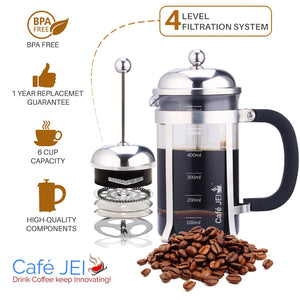Cafe JEI Classic Dome French Press Coffee and Tea Maker 600ml (Dome Chrome)