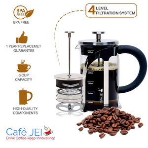 French Press Coffee and Tea Maker 600ml (Silver)
