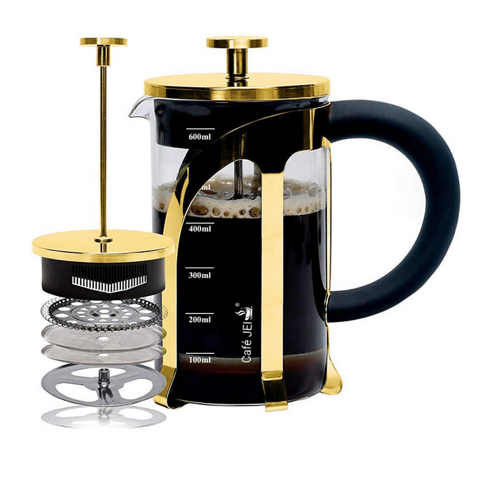 French Press Coffee and Tea Maker 600ml (Gold)