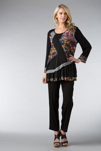 Blk/Multi Abstract Mesh Tunic
