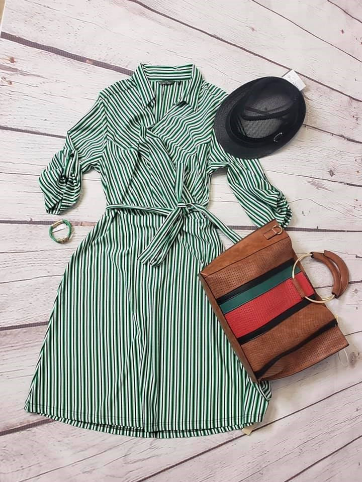 Curvy Green Stripe Tie Dress