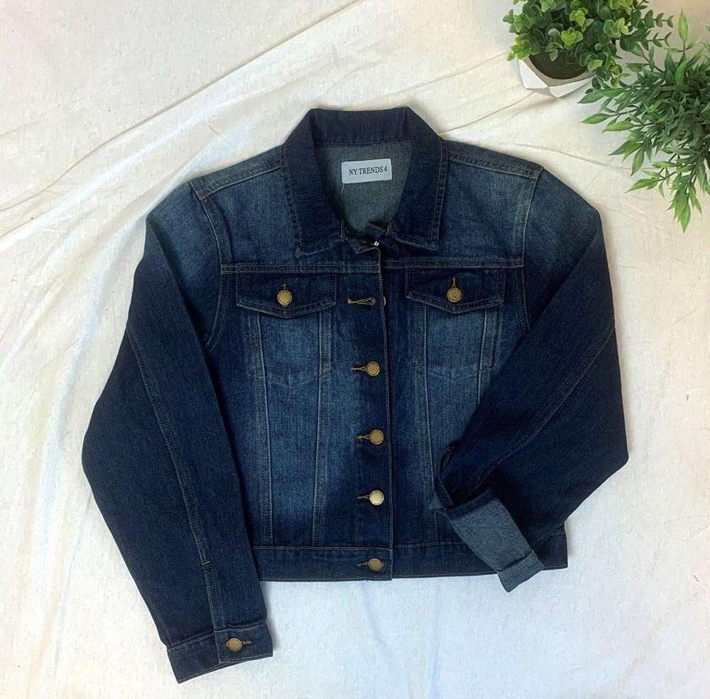Solid Bottom Band Denim Jacket