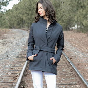 Three-Layer Textured Two-Tone Soft Shell Jacket - Curvy