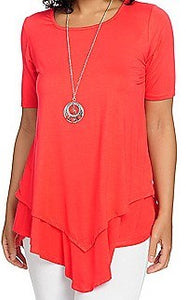 Elbow Sleeve Lined Tunic w/ Removable Necklace