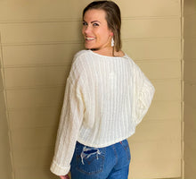 Load image into Gallery viewer, L/S Textured Sweater Top w/ Cuffed Sleeves