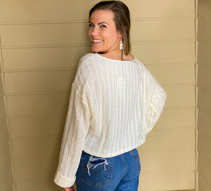 L/S Textured Sweater Top w/ Cuffed Sleeves