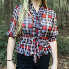Load image into Gallery viewer, Red/Blk Geo Plaid w/Smocked Bundle