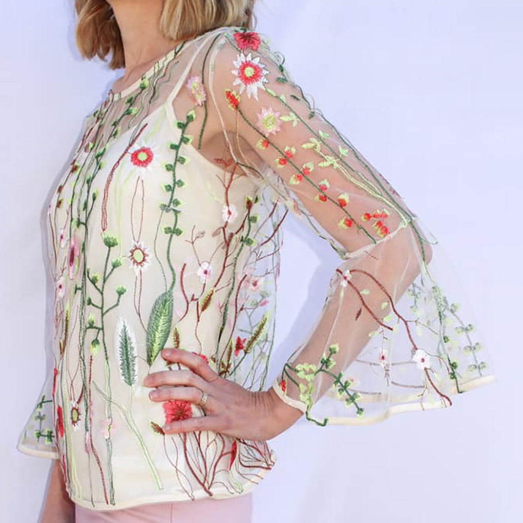 Floral Emroidery Sheer Top