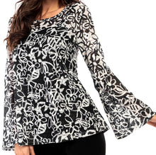 Load image into Gallery viewer, Floral Mesh Bell/Sleeve Top