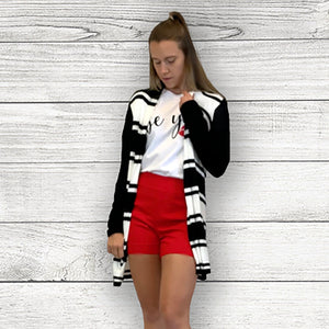 Black/Bone Long Stripe Cardigan