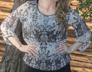 B/W Chiffon Mix Overlay Top (bundle)