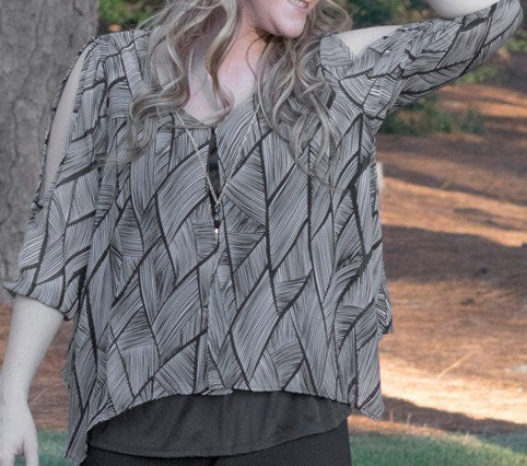 Etched Chiffon Mix Overlay Top  (bundle)