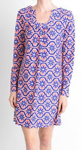 Load image into Gallery viewer, L/S Horseshoe Neck Blue/Salmon Dress