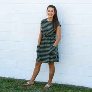 Striped Cap Sleeve Dress with Patch Pockets