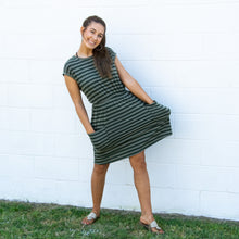 Load image into Gallery viewer, Striped Cap Sleeve Dress with Patch Pockets