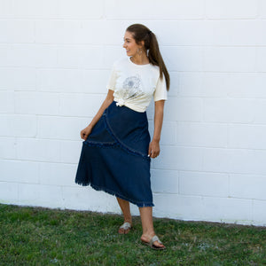 Fringed Denim Skirt