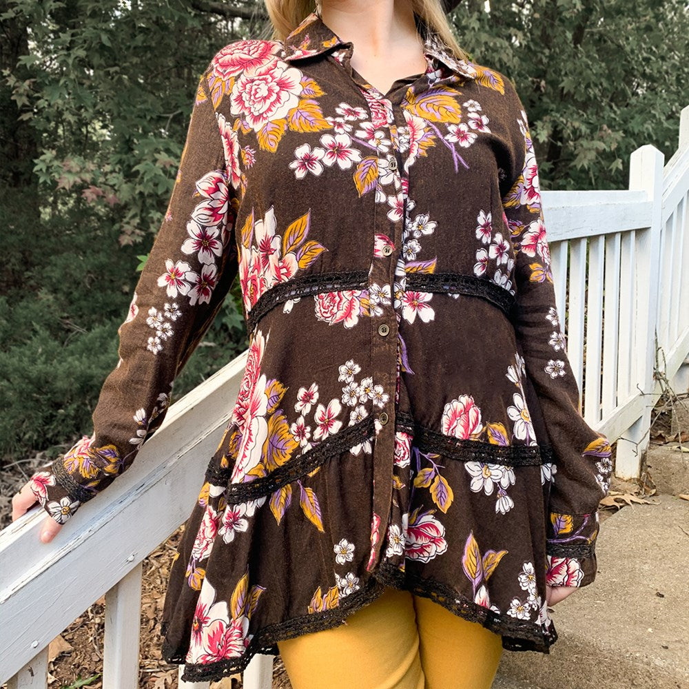 L/S Floral Button Front with Lace Trim