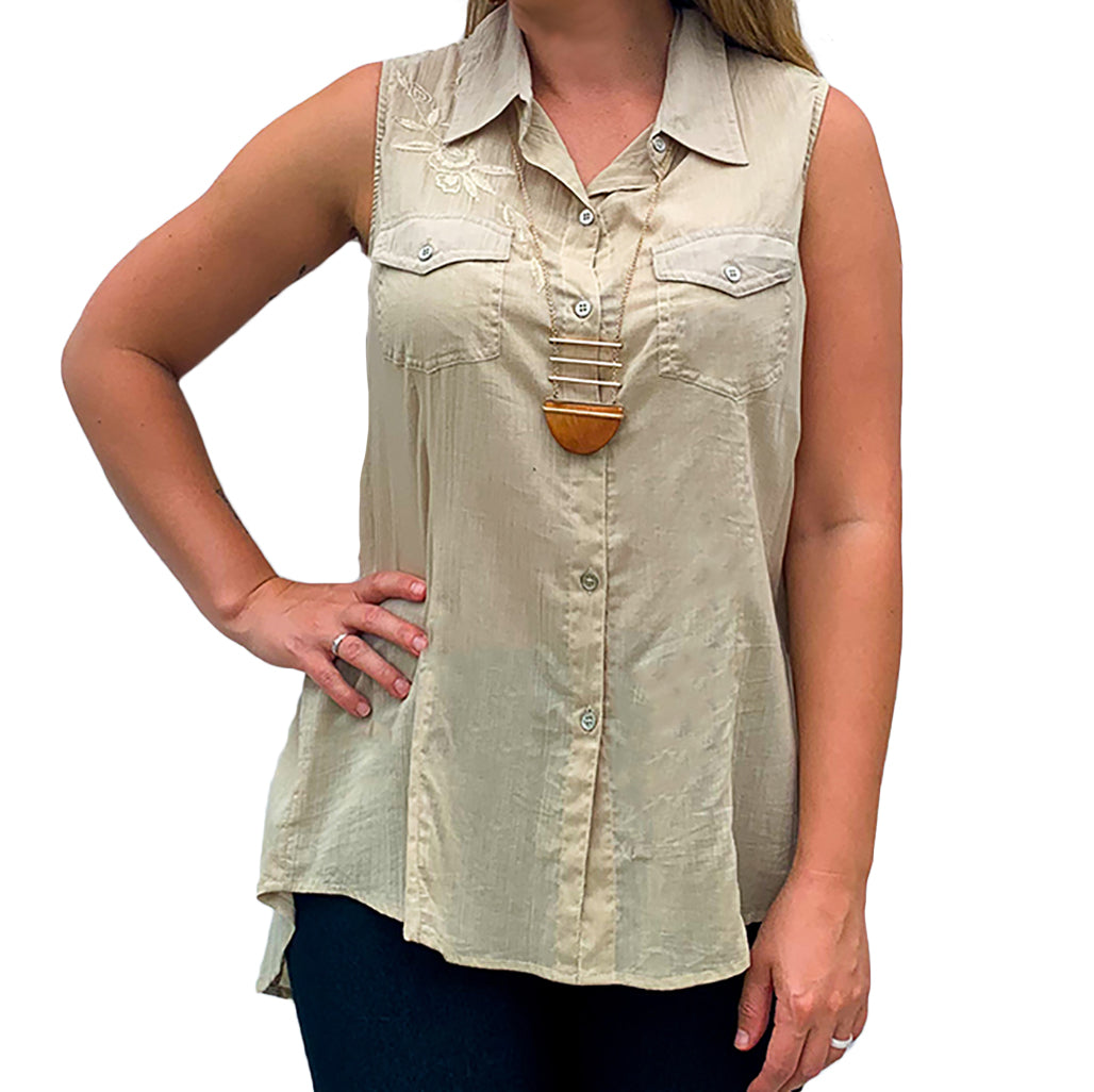 Sleeveless Crochet Hi-Lo Woven Camp Shirt (bundle)