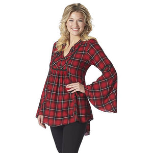 Bell Sleeve Red Plaid V-Neck Top