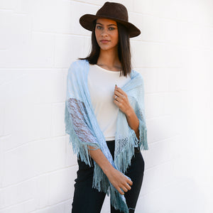 Raven Blue Lace Trapezoid Scarf With Tassel